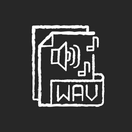 WAV file chalk white icon on black background. Waveform audio file format. Storing data in segments. Uncompressed lossless audio. Maximum quality music. Isolated vector chalkboard illustration 免版税图像 - 156214522