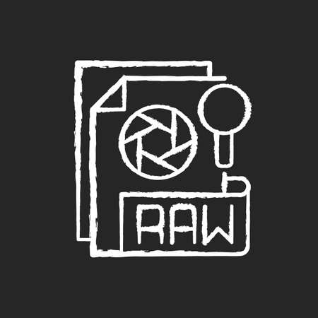 RAW file chalk white icon on black background. Camera raw image file. File extension. Uncompressed images. Digital cameras and scanners. Unedited state. Isolated vector chalkboard illustration 矢量图像