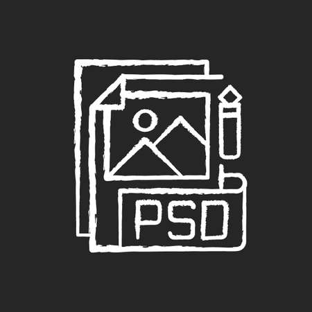 PSD file chalk white icon on black background. Layered image file format. High quality graphics data. Data saving. PSD layers, shapes, text, effects modifying. Isolated vector chalkboard illustration 矢量图像