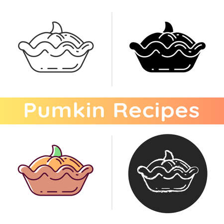 Pumpkin pie icon. Linear black and RGB color styles. Traditional autumn season pastry. Halloween and thanksgiving meal. Vegan food, delicious pastry with gourd. Isolated vector illustrations