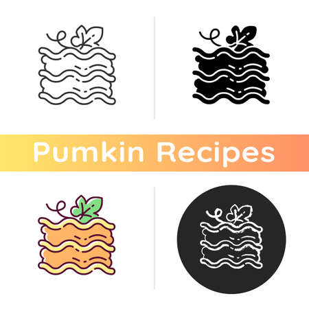 Pumpkin lasagna icon. Linear black and RGB color styles. Traditional baked dish with gourd. Italian restaurant autumn season menu. Homemade vegetarian food. Isolated vector illustrations