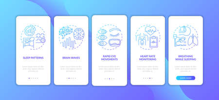 Sleep problems blue gradient onboarding mobile app page screen with concepts. Health issue. Sleep disorders walkthrough 5 steps graphic instructions. UI vector template with RGB color illustrations