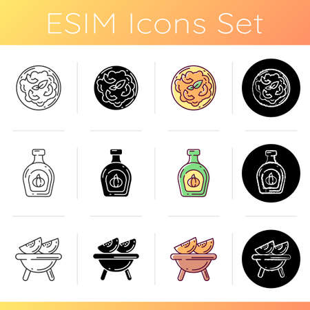 Gourd recipes icons set. Linear, black and RGB color styles. Delicious roasted pumpkin, syrup and italian risotto. Vegetarian cuisine, homemade dishes. Isolated vector illustrations