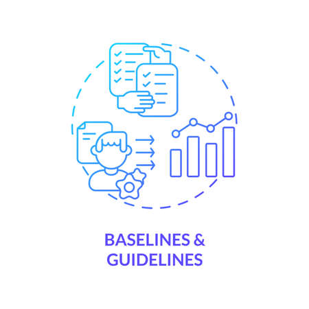 Baselines and guidelines concept icon. Software structure idea thin line illustration. Agreed-upon, reviewed, approved requirements set. Software development. Vector isolated outline RGB color drawing