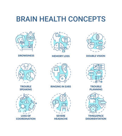 Brain health turquoise concept icons set. Lack of sleep. Memory loss. Double vision. Health care idea thin line RGB color illustrations. Vector isolated outline drawings. Editable stroke