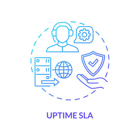 Uptime SLA concept icon. Security parameter idea thin line illustration. Hosting provider quality measuring. Maintenance and response time. Vector isolated outline RGB color drawing
