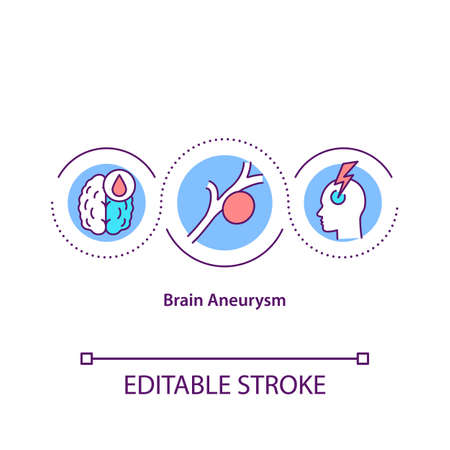 Brain aneurysm concept icon. Dangerous cerebrovascular disorder. Risk of head artery or vein rupture idea thin line illustration. Vector isolated outline RGB color drawing. Editable stroke Vettoriali
