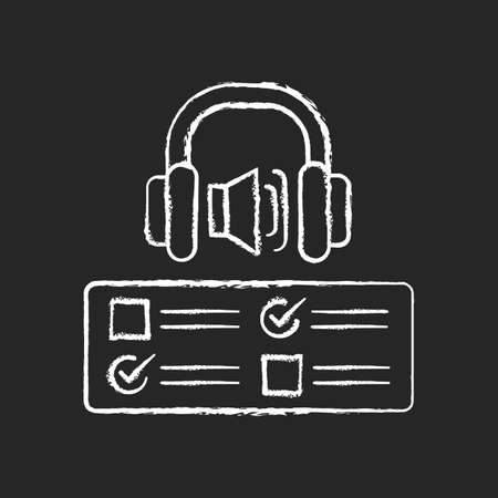 Listening examination chalk white icon on black background. Comprehension practice tests. School and university education. Improve listening skills. Isolated vector chalkboard illustration