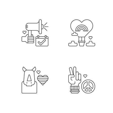 LGBT movement linear icons set. Rhinoceros and rainbow heart. Air balloon. Peace symbol. Customizable thin line contour symbols. Isolated vector outline illustrations. Editable stroke