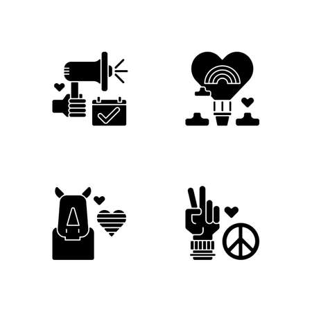 LGBT movement black glyph icons set on white space. Rhinoceros and rainbow heart. Air balloon. Peace symbol. Silhouette symbols. Vector isolated illustration
