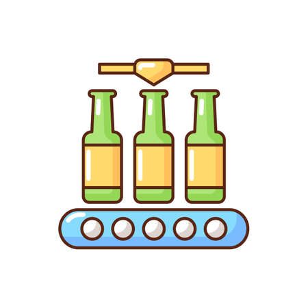 Bottling RGB color icon. Industrial alcohol production. Packing beverage on conveyor belt. Automated process of packaging beer. Manufacture system machinery. Isolated vector illustration