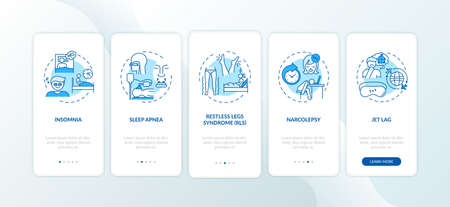 Sleep disorder types blue onboarding mobile app page screen with concepts. Problem with nighttime rest walkthrough 5 steps graphic instructions. UI vector template with RGB color illustrations