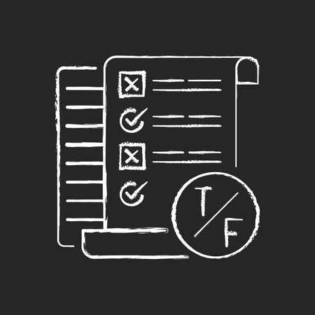 True false test chalk white icon on black background. Short answer questioning. Knowledge check. Examination in school and inuversity. Isolated vector chalkboard illustration