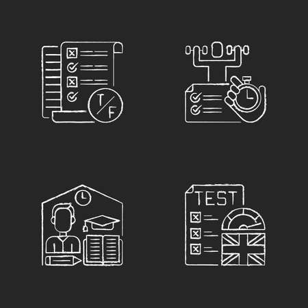True false test chalk white icons set on black background. Placement exam. Physical skills testing. Examination and education. Right answer. Isolated vector chalkboard illustrations Ilustrace