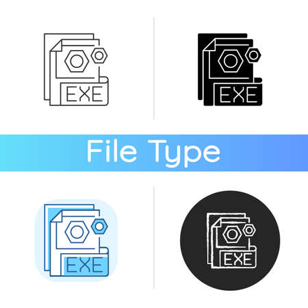 EXE file icon. File format. Common filename extension. Executable file. Computer program execution point. Software installer. Linear black and RGB color styles. Isolated vector illustrations