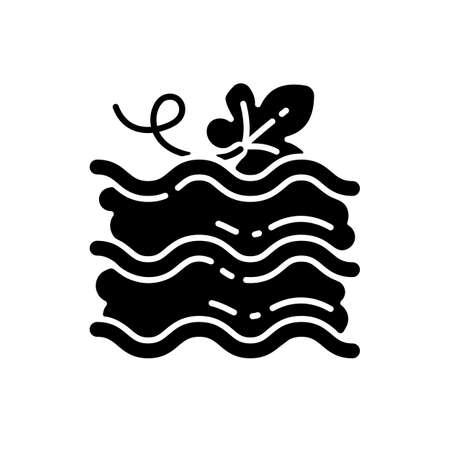 Pumpkin lasagna black glyph icon. Traditional baked dish with gourd silhouette symbol on white space. Italian restaurant autumn season menu. Homemade vegetarian food. Vector isolated illustration Illustration