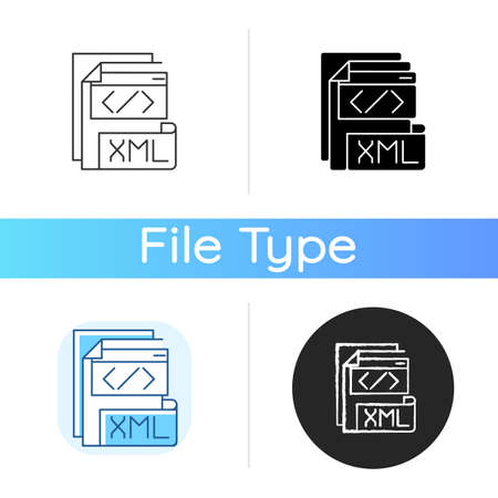 XML file icon. Extensible markup language. Text editor. Storing and transport data. Conversion. Standard office file format. Linear black and RGB color styles. Isolated vector illustrations