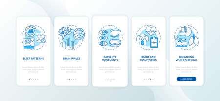 Sleep problems blue onboarding mobile app page screen with concepts. Healthcare issue. Sleep disorders walkthrough 5 steps graphic instructions. UI vector template with RGB color illustrations