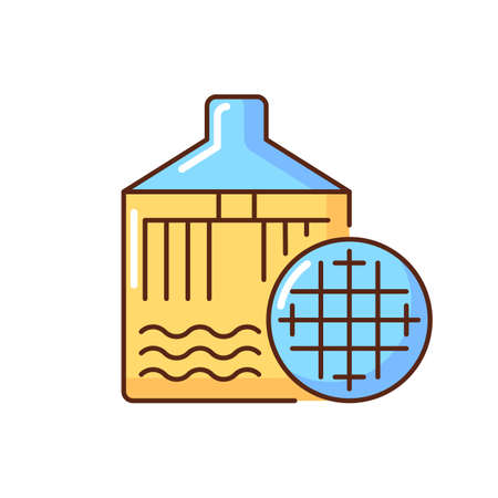 Filtering RGB color icon. Beer production in industrial boiler. Brewery automated technology. Industrial appliance to brew ale. Manufacturing alcohol system. Isolated vector illustration
