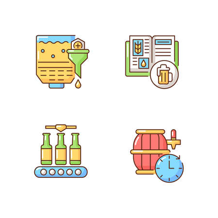 Beer production RGB color icons set. Recipe for alcohol drink production. Beverage manufacture step. Bottling liquid. Mashing in industrial appliance. Barrel aged beer. Isolated vector illustrations