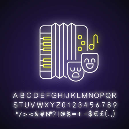 Comedy music neon light icon. Theater masks types. Accordion musical instrument. Outer glowing effect. Sign with alphabet, numbers and symbols. Vector isolated RGB color illustration