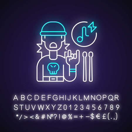 Rock music neon light icon. Drumer boy in sweatshirt with skull. Wooden drum sticks. Outer glowing effect. Sign with alphabet, numbers and symbols. Vector isolated RGB color illustration Illusztráció