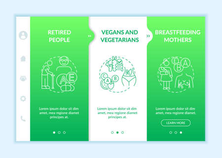 Human body needs onboarding vector template. Older adults, vegetarians, breastfeeding women. Responsive mobile website with icons. Webpage walkthrough step screens. RGB color concept