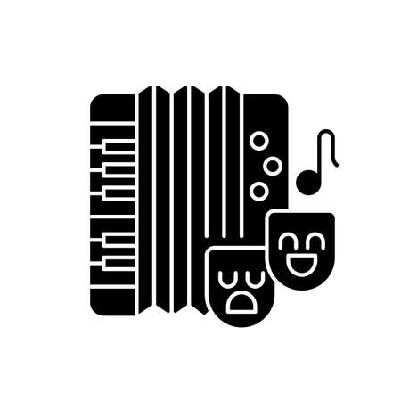 Comedy music black glyph icon. Theater masks types. Accordion musical instrument. National songs playing. Musical hobby. Silhouette symbol on white space. Vector isolated illustration 向量圖像