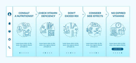 Recommended daily vitamins intake onboarding vector template. Consider side-effects. No expired vitamins. Responsive mobile website with icons. Webpage walkthrough step screens. RGB color concept Vettoriali