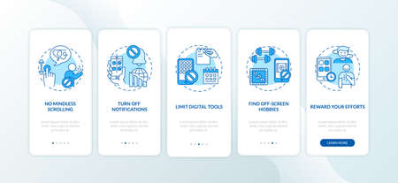 Fighting screen addiction onboarding mobile app page screen with concepts. Muting, reward efforts walkthrough 5 steps graphic instructions. UI vector template with RGB color illustrations