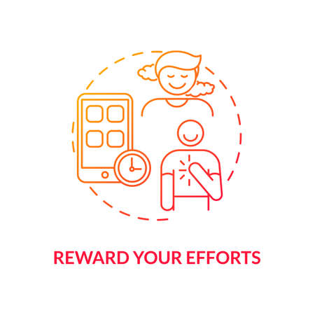 Reward efforts concept icon. Smartphone dependence reducing idea thin line illustration. Real-life activities. Motivation. Earning reward. Phone-free. Vector isolated outline RGB color drawing