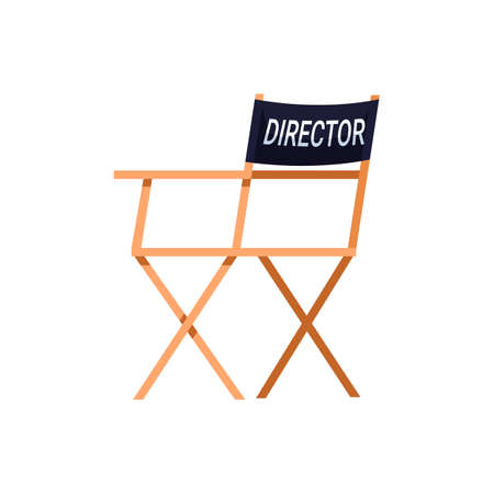 Director chair semi flat RGB color vector illustration. Movie filming set equipment. Best creators team. Director place for mananging plot isolated cartoon character on white background