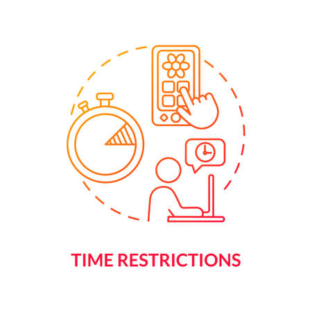 Time restrictions concept icon. Parental control element idea thin line illustration. Self-control. Web-tracking tool. Internet access control. Vector isolated outline RGB color drawing