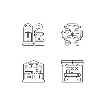 Flea market pixel perfect linear icons set. Antique store, auto trade, garage sale and public market customizable thin line contour symbols. Isolated vector outline illustrations. Editable stroke