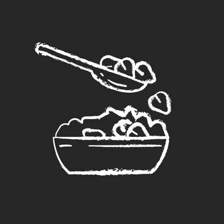 Buckwheat chalk white icon on black background. Vegetarian healthy grain meals. Vegan eating plan. Bowl full of eco ingredients. Dinner preparation. Isolated vector chalkboard illustration Illustration