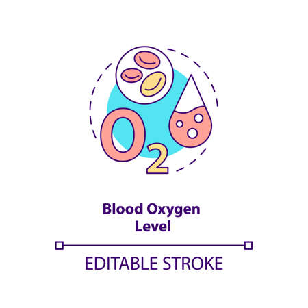 Blood oxygen level concept icon. Wearable technology feature idea thin line illustration. Pulse oximeter sensor. Health metric. Vector isolated outline RGB color drawing. Editable stroke 向量圖像