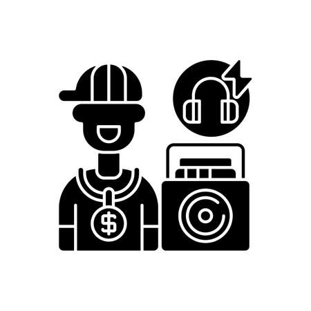 Hip hop music black glyph icon. Rapper boy wearing golden chain with dollar sign. Moveable loudspeaker. Headphones with lightning. Silhouette symbol on white space. Vector isolated illustration