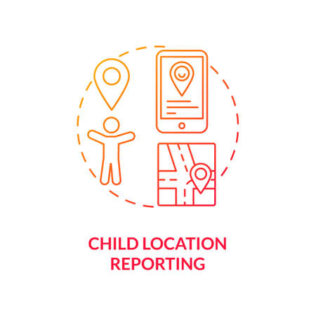 Child location reporting concept icon. Parental control element idea thin line illustration. Adolescent location identification. Phone tracking. Vector isolated outline RGB color drawing