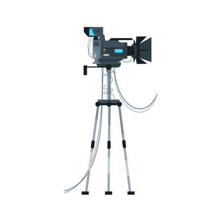 Camera semi flat RGB color vector illustration. Videography working field. Movie master creation crew. Filming professional equipment isolated cartoon character on white background Vector Illustration