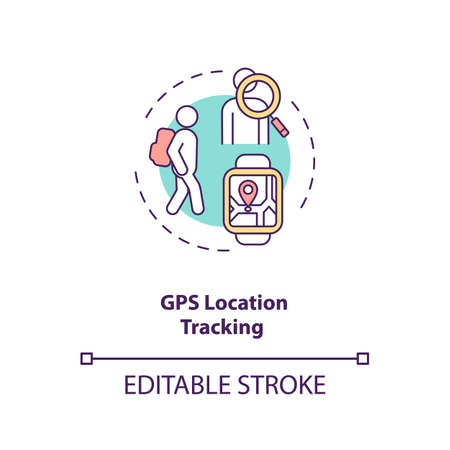GPS location tracking concept icon. Navigation system idea thin line illustration. Parental control. Activity stats real-time tracking. Vector isolated outline RGB color drawing. Editable stroke