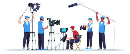 Filming crew semi flat RGB color vector illustration. Director watching on screen. Cameraman with equipment. Sound technicians. Movie creation team isolated cartoon character on white background