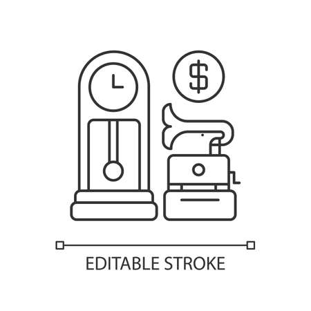 Antique store pixel perfect linear icon. Rare and vintage goods sale. Retail business, consumerism thin line customizable illustration. Contour symbol. Vector isolated outline drawing. Editable stroke