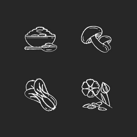 Healthy grains chalk white icons set on black background. Organic shiitake mushrooms. Eco seed meal ingredients. Natural grains variety. Isolated vector chalkboard illustrations