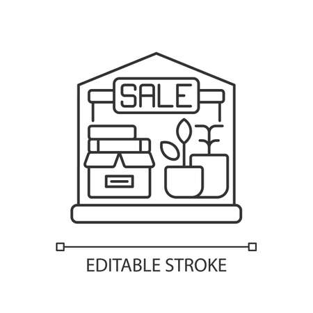 Garage sale pixel perfect linear icon. Flea market, second hand goods at low price. Street sale thin line customizable illustration. Contour symbol. Vector isolated outline drawing. Editable stroke 向量圖像