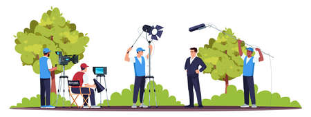 Movie set semi flat RGB color vector illustration. Filming process. Good teamwork. Director with his team members. Professional equipment. Star actor isolated cartoon character on white background