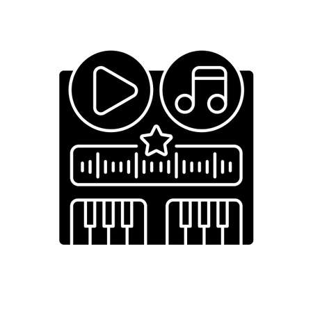 Soundtrack black glyph icon. Music creation application. Play button ideas. Song sample. Track creation. Piano keyboard. Silhouette symbol on white space. Vector isolated illustration Çizim