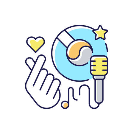 K pop RGB color icon. Musical genres. Microphone with vinyl. Giving love hand. Music loving. Singing songs. Favorite hobby. Isolated vector illustration Reklamní fotografie
