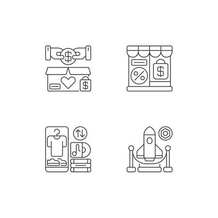 Trading pixel perfect linear icons set. Charity shop, outlet store, swap meet and exhibition customizable thin line contour symbols. Isolated vector outline illustrations. Editable stroke