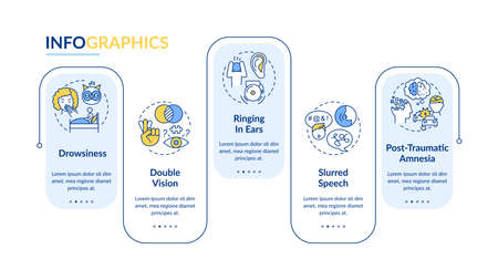 Head trauma vector infographic template. Brain injury symptoms presentation design elements. Data visualization with 5 steps. Process timeline chart. Workflow layout with linear icons Vectores
