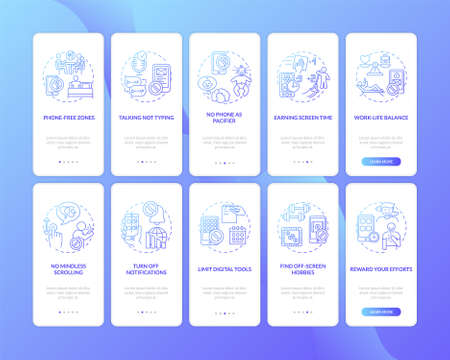 Screen addiction reducing onboarding mobile app page screen with concepts set. Mindless scrolling, muting walkthrough 5 steps graphic instructions. UI vector template with RGB color illustrations